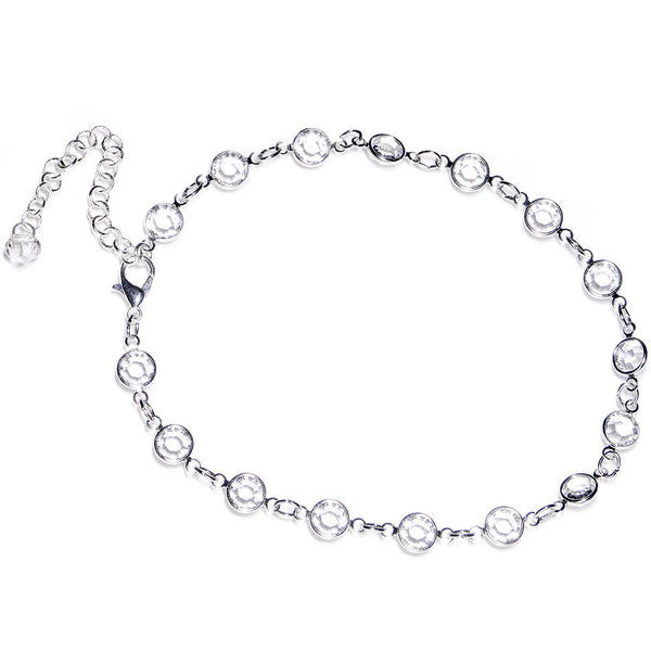 Handmade Clear Gem Adjustable Anklet Created with Swarovski Crystals