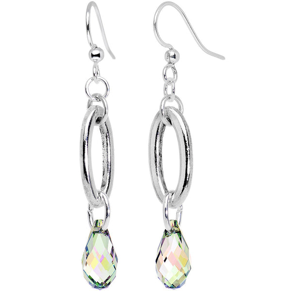 Aurora Silver Tone Link Drop Earrings Created with Swarovski Crystals