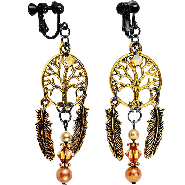 Tree Dreamcatcher Clip On Earrings Created with Swarovski Crystals