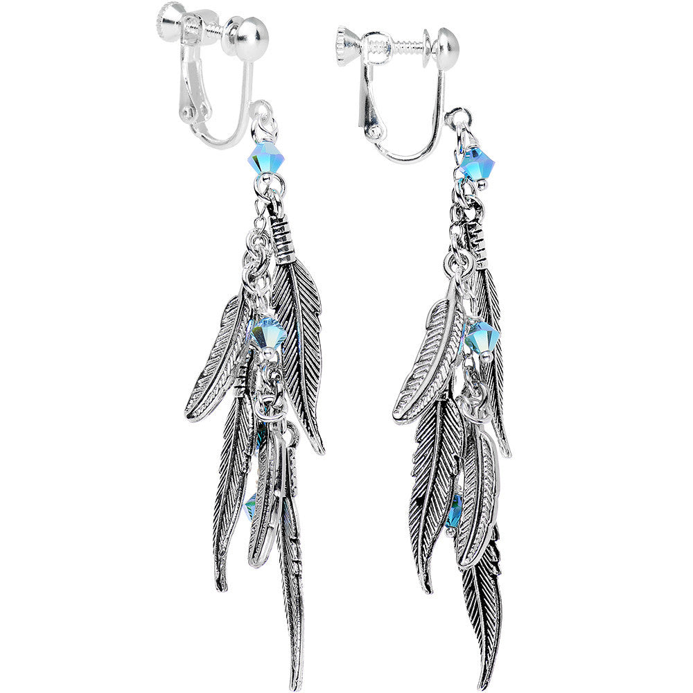 d475fbe23 Cascade of Feathers Clip On Earrings Created with Swarovski Crystals –  BodyCandy