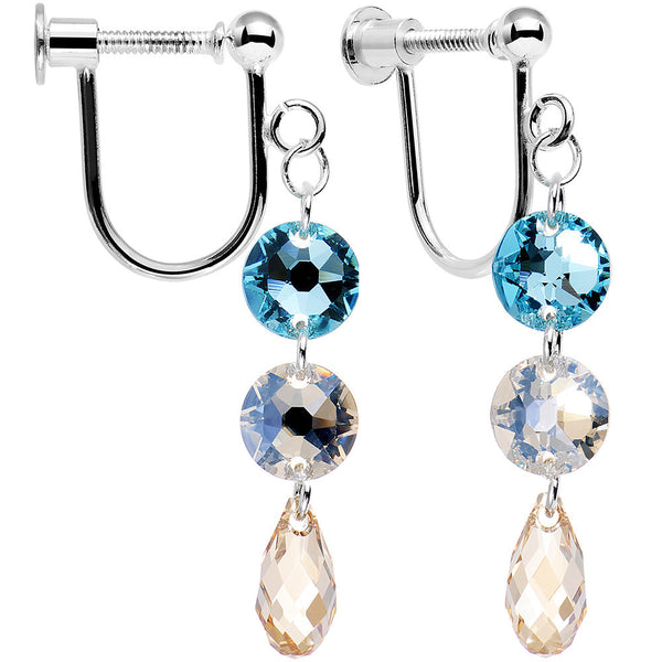 925 Silver Champagne Sky Clip Earrings Created with Swarovski Crystals