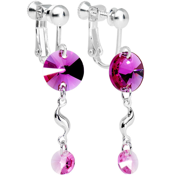 Pink Twist Drop Clip On Earrings Created with Swarovski Crystals
