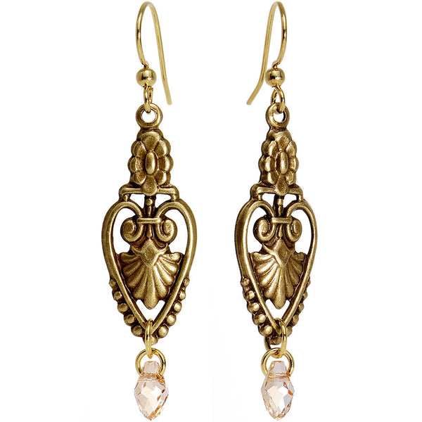 Gold Plated Deco Spear Dangle Earrings Created with Swarovski Crystals