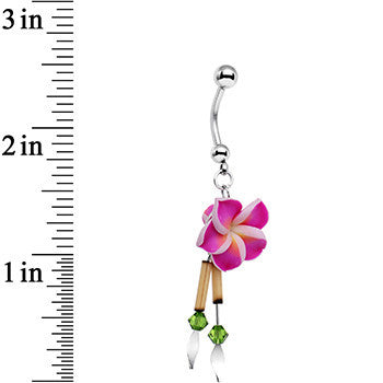 Handcrafted Hawaiian Escape Belly Ring Created with Swarovski Crystals
