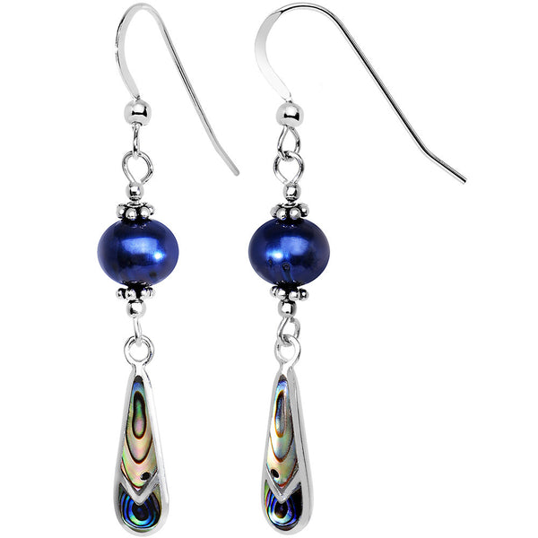 Handcrafted 925 Silver Blue Freshwater Pearl Shell Dangle Earrings