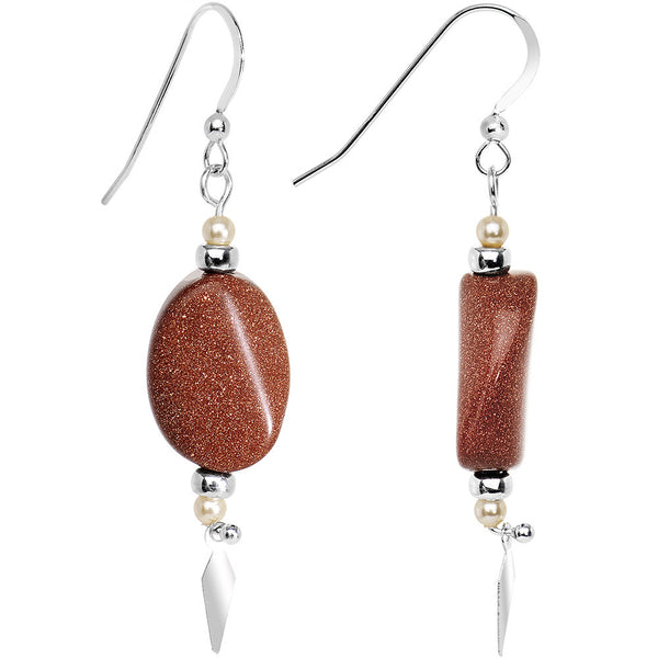 925 Silver Faux Goldstone Earrings Created with Swarovski Crystals