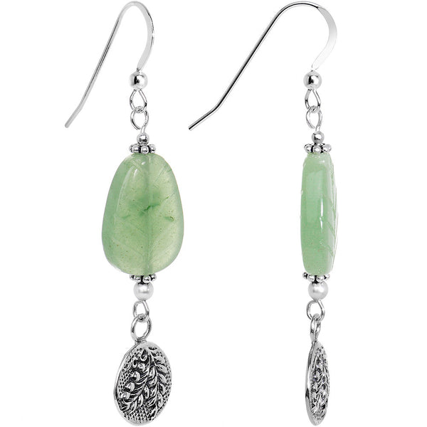 925 Silver Natural Aventurine Earrings Created with Swarovski Crystals