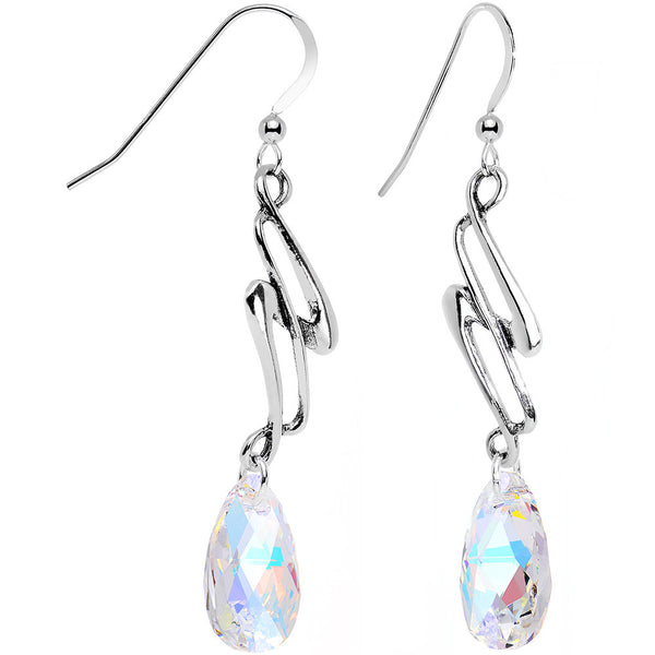 Aurora 925 Silver Swept Away Earrings Created with Swarovski Crystals