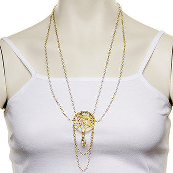 Gold Plated Tree of Life Necklace Created with Swarovski Crystals