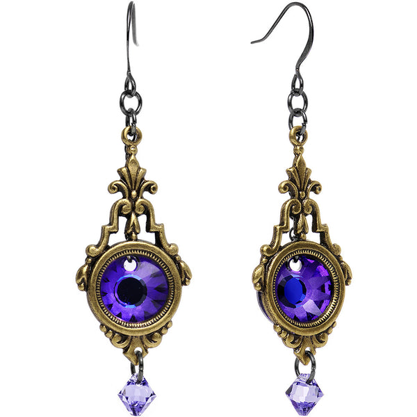 Purple Art Deco Looking Glass Earrings Created with Swarovski Crystals