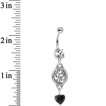Black Heart Swirls Away Belly Ring Created with Swarovski Crystals