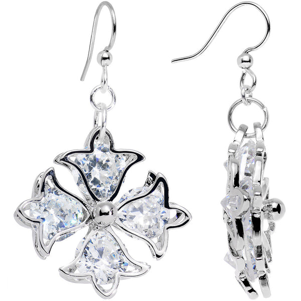 Handcrafted Clear Gem Silver Plated Bells and Flowers Dangle Earrings