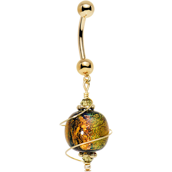 14k Gold Autumn Dichroic Belly Ring Created With Swarovski
