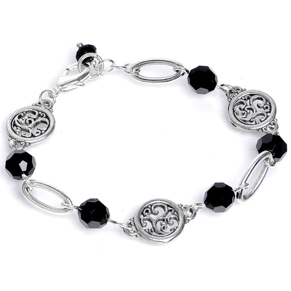 Handcrafted Black Swirl Bracelet Created with Swarovski Crystals
