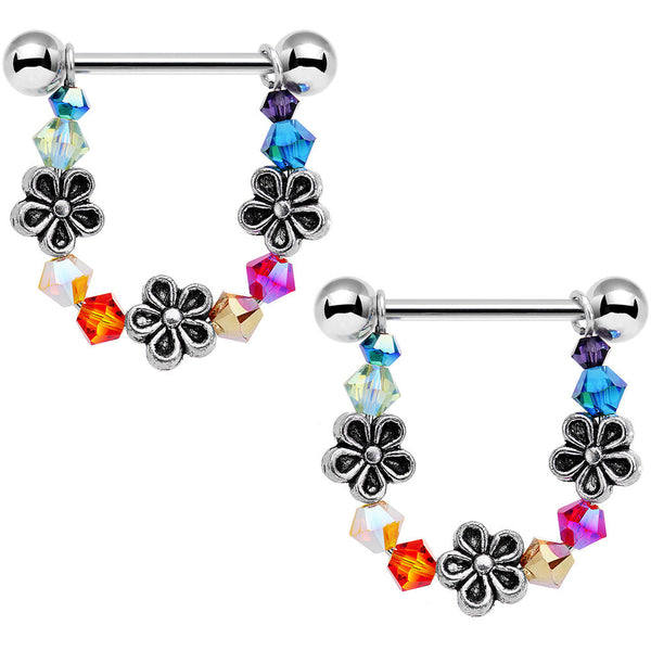 Flower Power Dangle Nipple Ring Set Created with Swarovski Crystals
