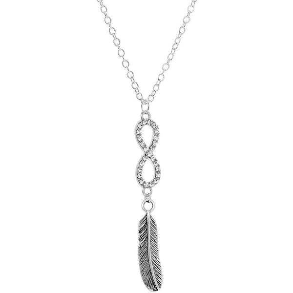 Handcrafted Silver Plated Chain Lone Feather Infinity Necklace