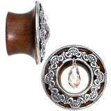 "3/4"" Clear Rosewood Trumpet Plug Set Created with Swarovski Crystals"