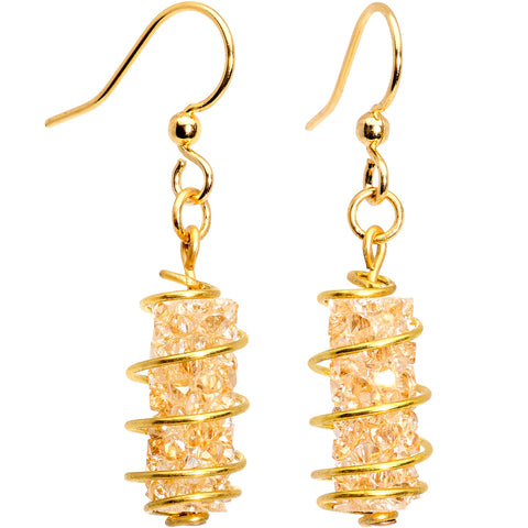 35d102dc4 Handmade Yellow Wrap Fishhook Earrings Created with Swarovski Crystals