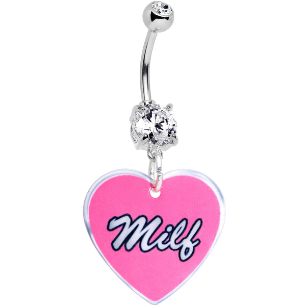 Handmade Pink Milf Heart Belly Ring Created with Swarovski Crystals