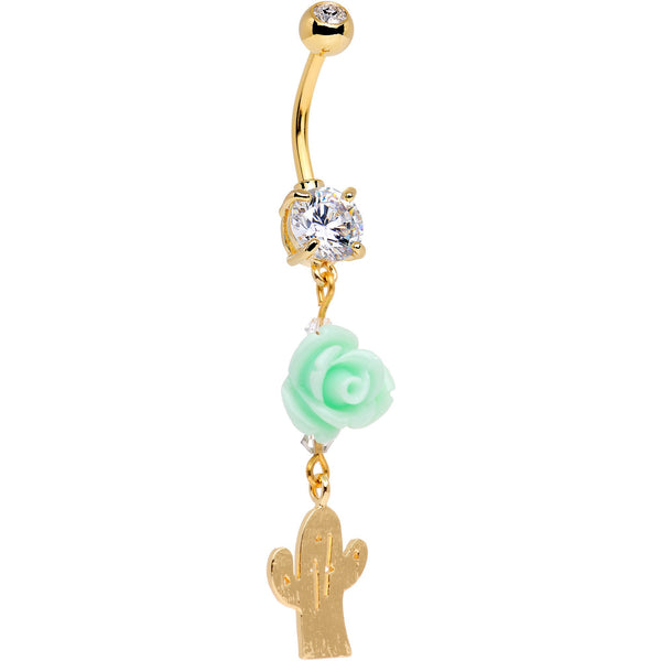 Handcrafted Clear Gem Gold Tone Cactus Bloom Dangle Belly Ring