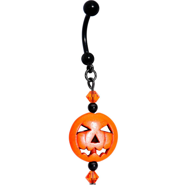 Handcrafted Jack O Lantern Belly Ring Created with Swarovski Crystals