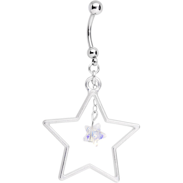Handmade Starlight Dangle Belly Ring Created with Swarovski Crystals