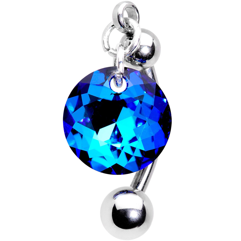 Blue Drop Top Mount Belly Ring Created With Swarovski Crystals