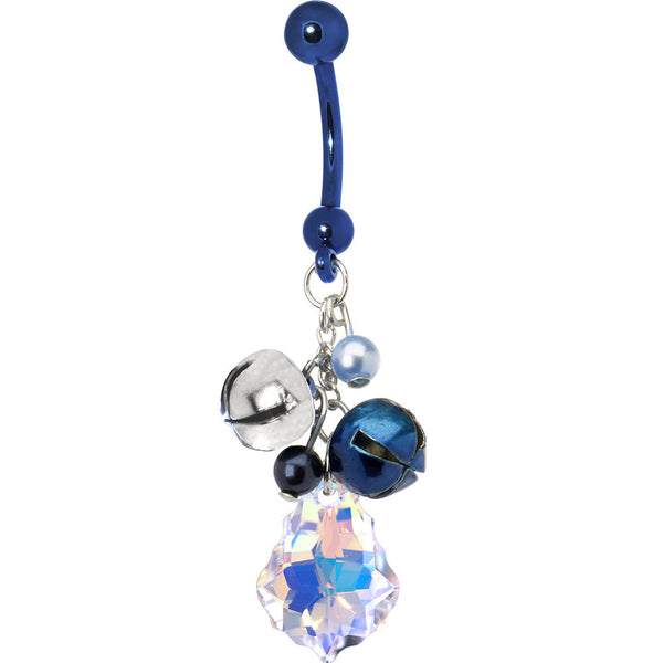 Handcrafted Jingle Bells Belly Ring Created with Swarovski Crystals
