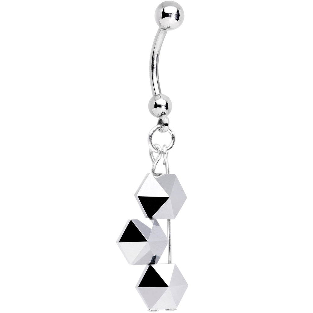Handmade Geometric Belly Ring Created With Swarovski Crystals