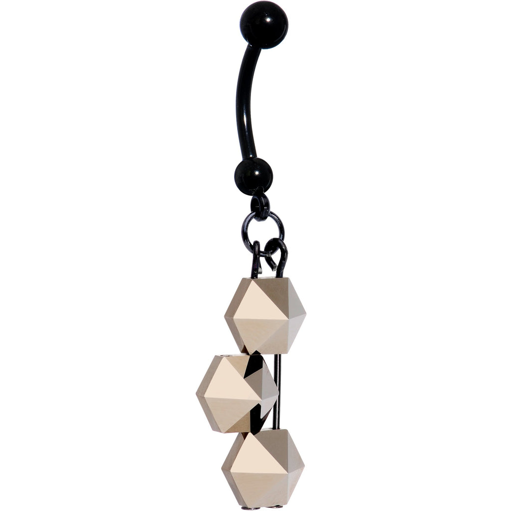 01ba4eaf5 Handmade Geometric Black Belly Ring Created with Swarovski Crystals –  BodyCandy