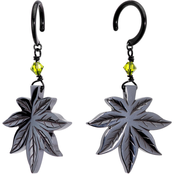 Handcrafted Black Titanium IP Natural Hematite Marijuana Ear Weights
