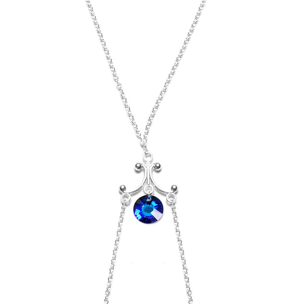 Blue Dangle Necklace Nipple Chain Created with Swarovski Crystals
