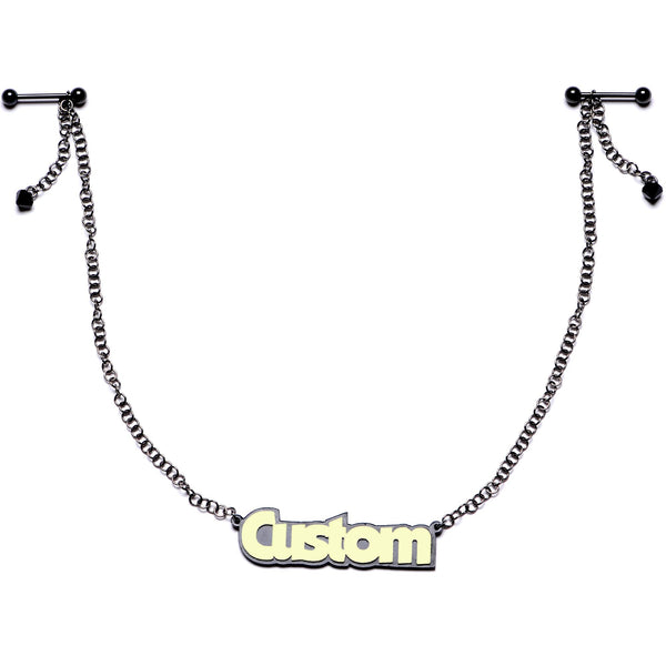 14 Gauge Custom Black Plated Glow in the Dark Personalized Name Nipple Chain