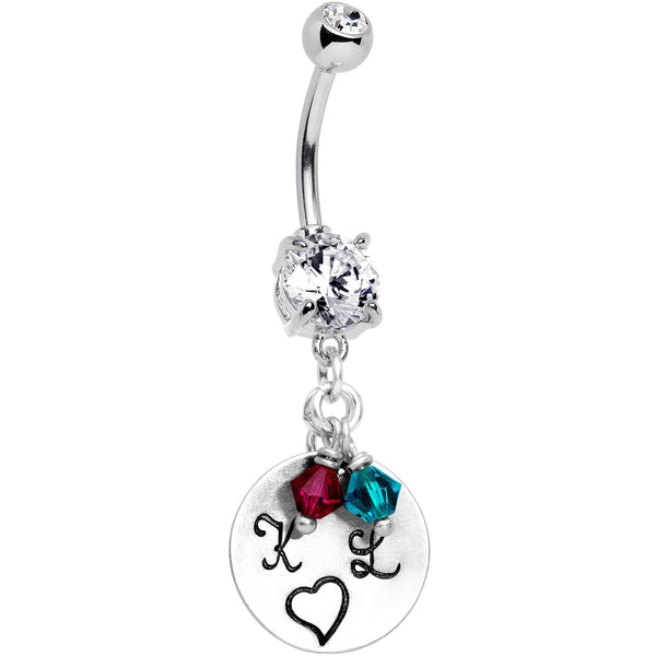 Custom Initials Birthstone Personalized Belly Ring Created with Swarovski Crystals