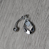Clear Drop Reversible Belly Ring Created with Swarovski Crystals