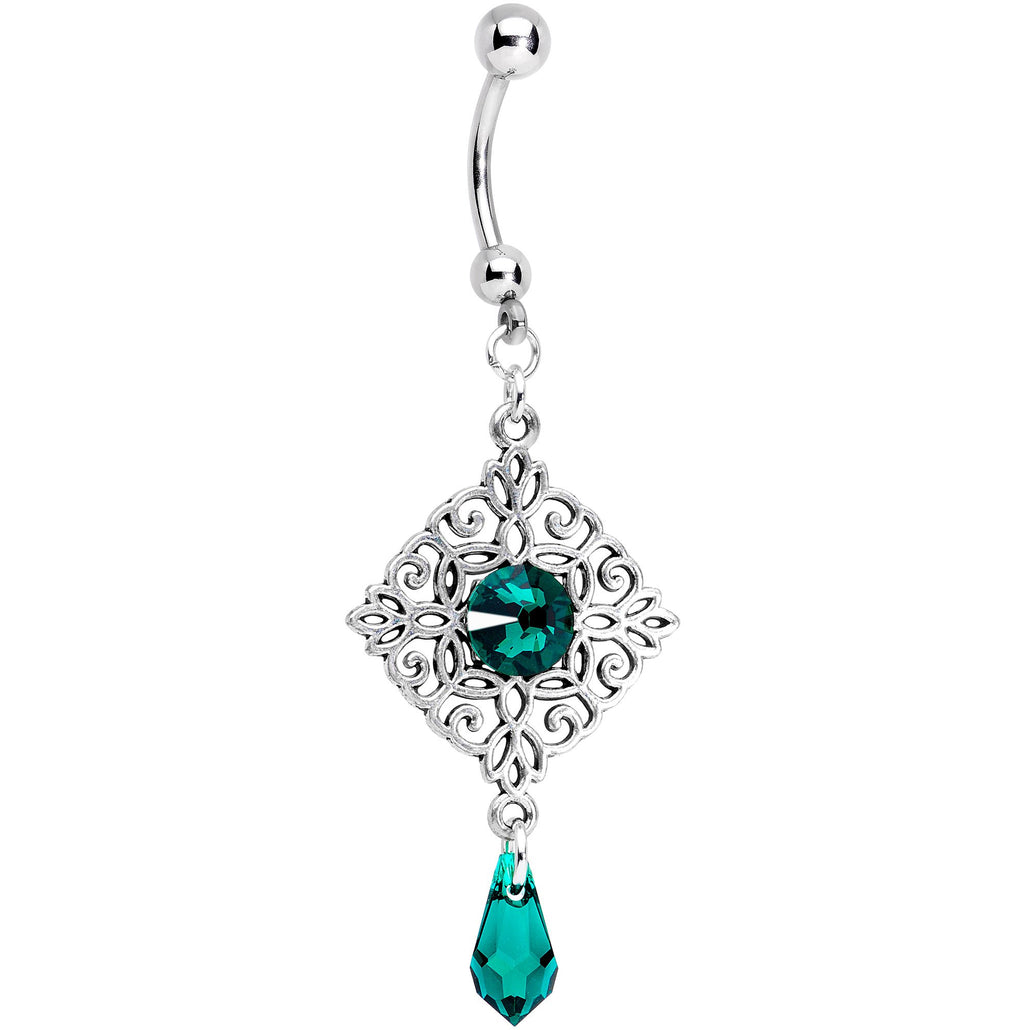 Handmade Green Rhom Dangle Belly Ring Created with Swarovski Crystals