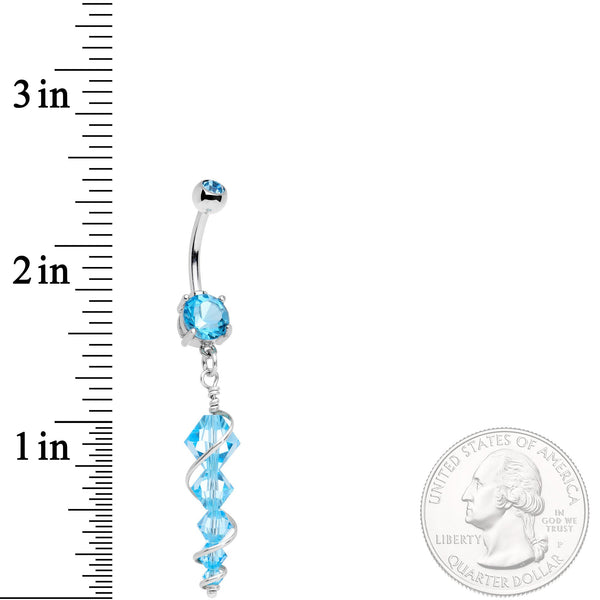 Handmade Blue Icicle Dangle Belly Ring Created with Swarovski Crystals