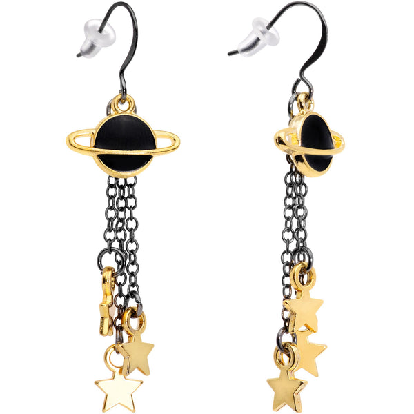 Handcrafted Black Gold Spaced Out Star Saturn Fishhook Dangle Earrings