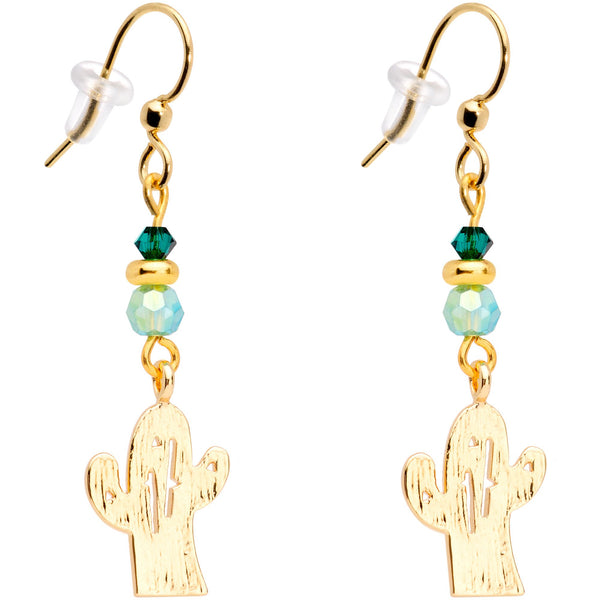 Gold Tone Cactus Fishhook Earrings Made with Swarovski Crystals