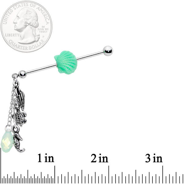 Mermaids Treasure Industrial Barbell Created with Swarovski Crystals