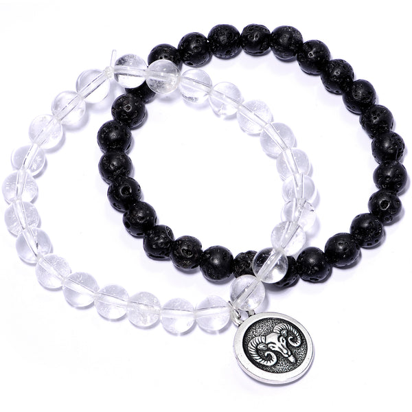 Handmade Lava Stone Clear Quartz Aries Zodiac Bracelet Set of 2