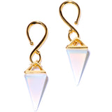 Handcrafted Gold Plated White Opalite Pyramid Ear Weights