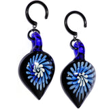 Handcrafted Black Titanium IP Blue Nova Glass Ear Weights