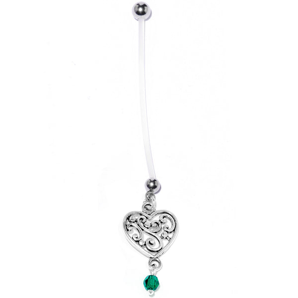 Handmade Heart Pregnancy Belly Ring Created with Swarovski Crystals