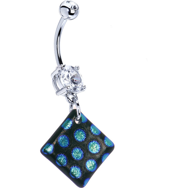 Handcrafted Blue Polka Dot Dichroic Glass Belly Ring