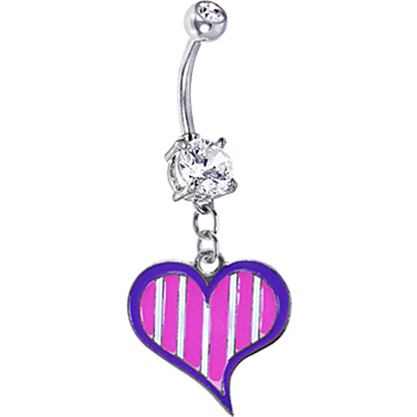 Pink and White Striped Heart Belly Ring
