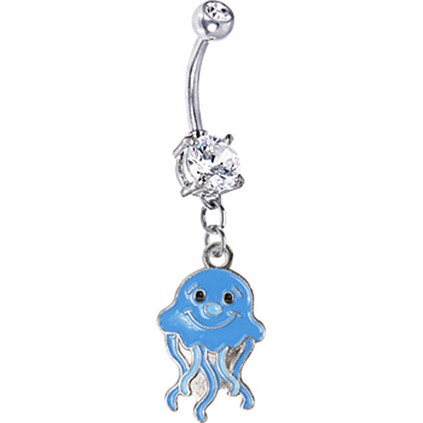 Blue Jellyfish Belly Ring