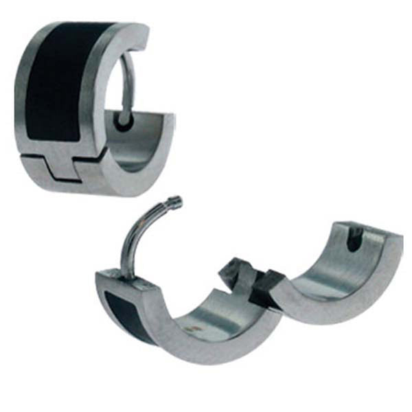 Inox Jewelry Thick Black PVD Stripe 316L Stainless Steel Huggy Earrings