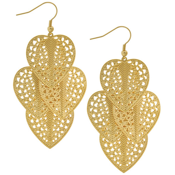 Inox Jewelry Large Dangle Gold PVD Leaf 316L Stainless Steel Earrings