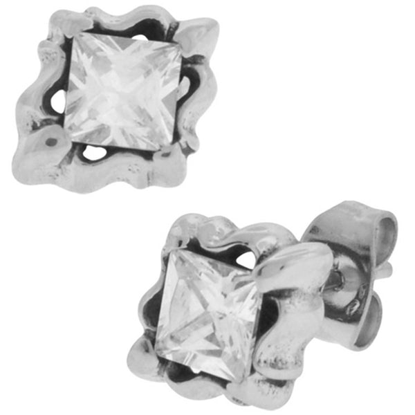 Inox Jewelry Single CZ Flower Set 316L Stainless Steel Stud Earrings